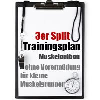 3er Split Trainingsplan Muskelaufbau ohne Vorermüdung für kleine Muskelgruppen